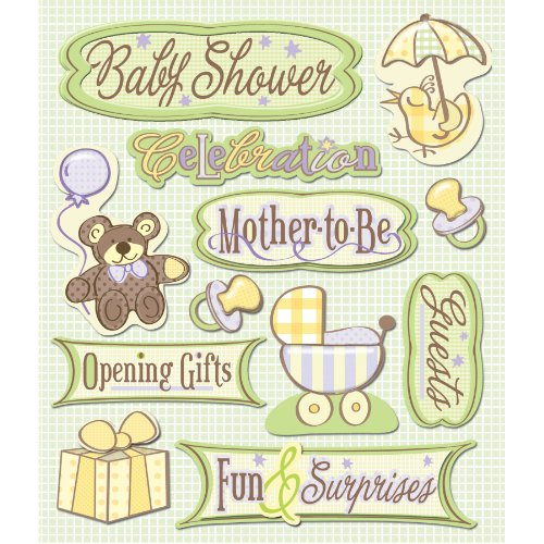 K&Company Baby Shower Sticker Medley, 12-pieces Baby Chipboard