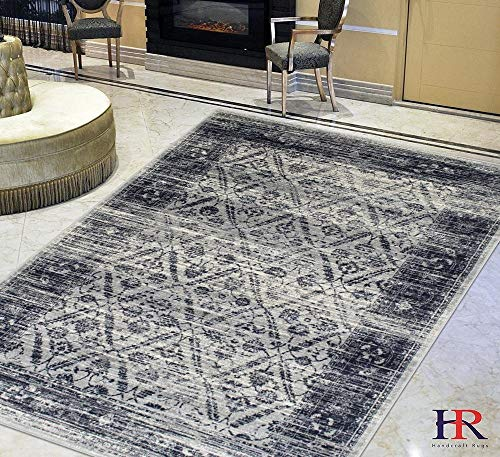 Zigler Rug (Navy/Gray Persian Zigler Allover Pattern Distressed – Modern Vintage Area Rug)