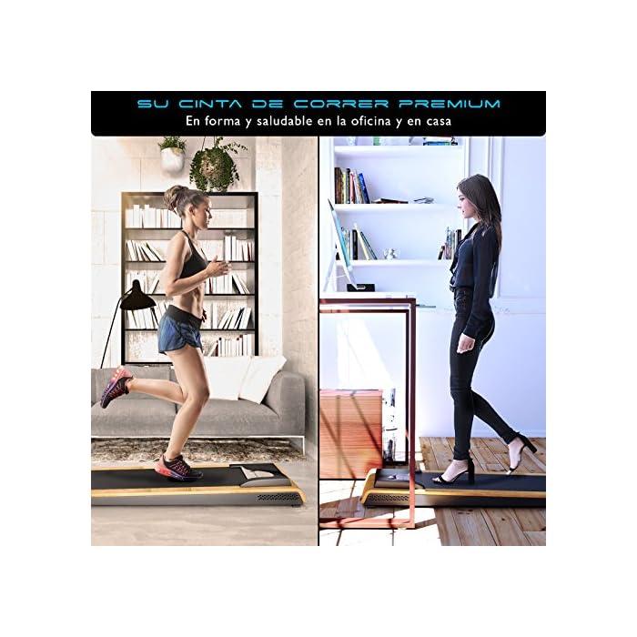 61YmawQ1B%2BL REVOLUCIÓN: Use la cinta de correr DFT200 para un paseo relajante mientras trabaja o como una cinta de correr profesional. Velocidad de hasta 7.1 km por hora. Entrenar y cambiar tu rutina SALUD: Estar mucho tiempo sentado es perjudicial para la salud. Moverse mientras trabaja ofrece muchas ventajas, cómo pérdida de peso, prevención de enfermedades y mejor capacidad cardiovascular. TRABAJAR MEJOR: Los movimientos regulares durante el trabajo estimulan el flujo de sangre a través del cerebro y la absorción de oxígeno. Aumenta la concentración y disminuye el estrés Cinta de correr DESKFIT DFT200