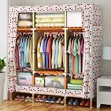 LaaLaa Furniture Standing Portable Wardrobe finishing decoration Wardrobe Detachable Solid wood Frame Extra Strong And Durable Clothing Storage Wardrobe Product size:150cm45cm170cm,F