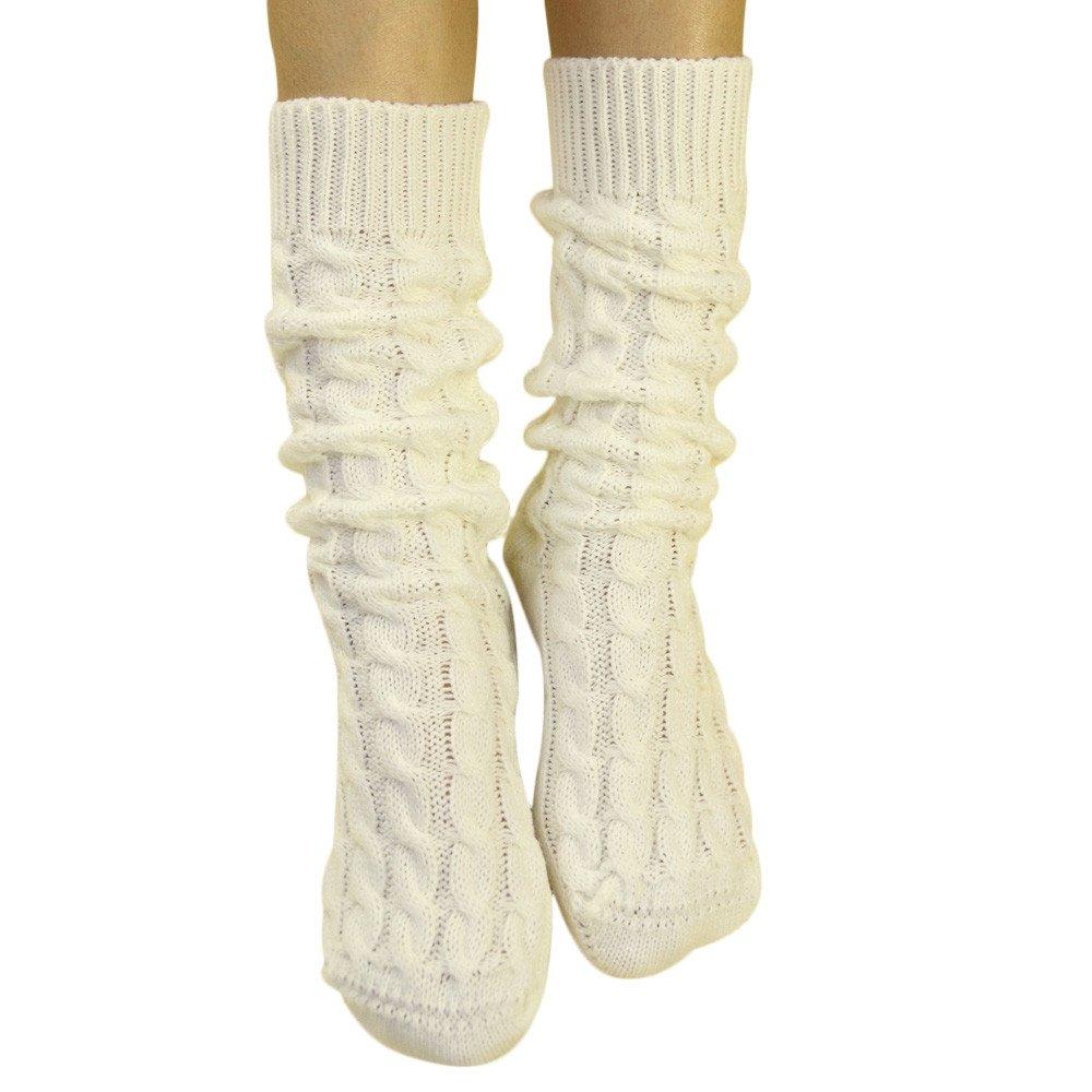 mediano calcetines negro Negro talla /única Foana Calcetines de oto/ño e invierno para mujer agujas gruesas en el tubo pierna dise/ño de flor de c/á/ñamo calentador