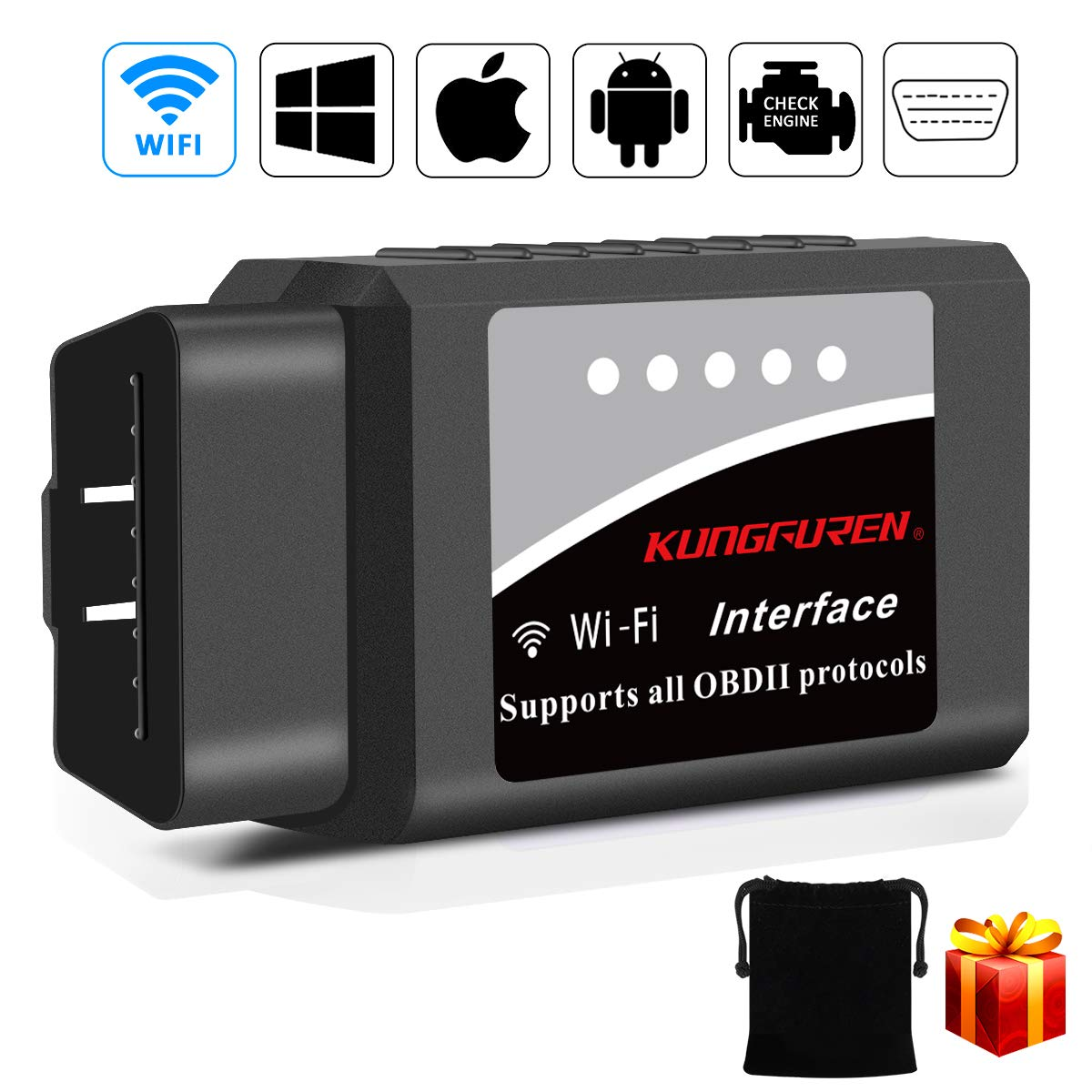 kungfuren OBD2 Scanner, [Upgraded 2018] Code Reader Car Diagnostic Tool Compatible with iOS, Android & Windows Devices Connects Via WiFi for Cars