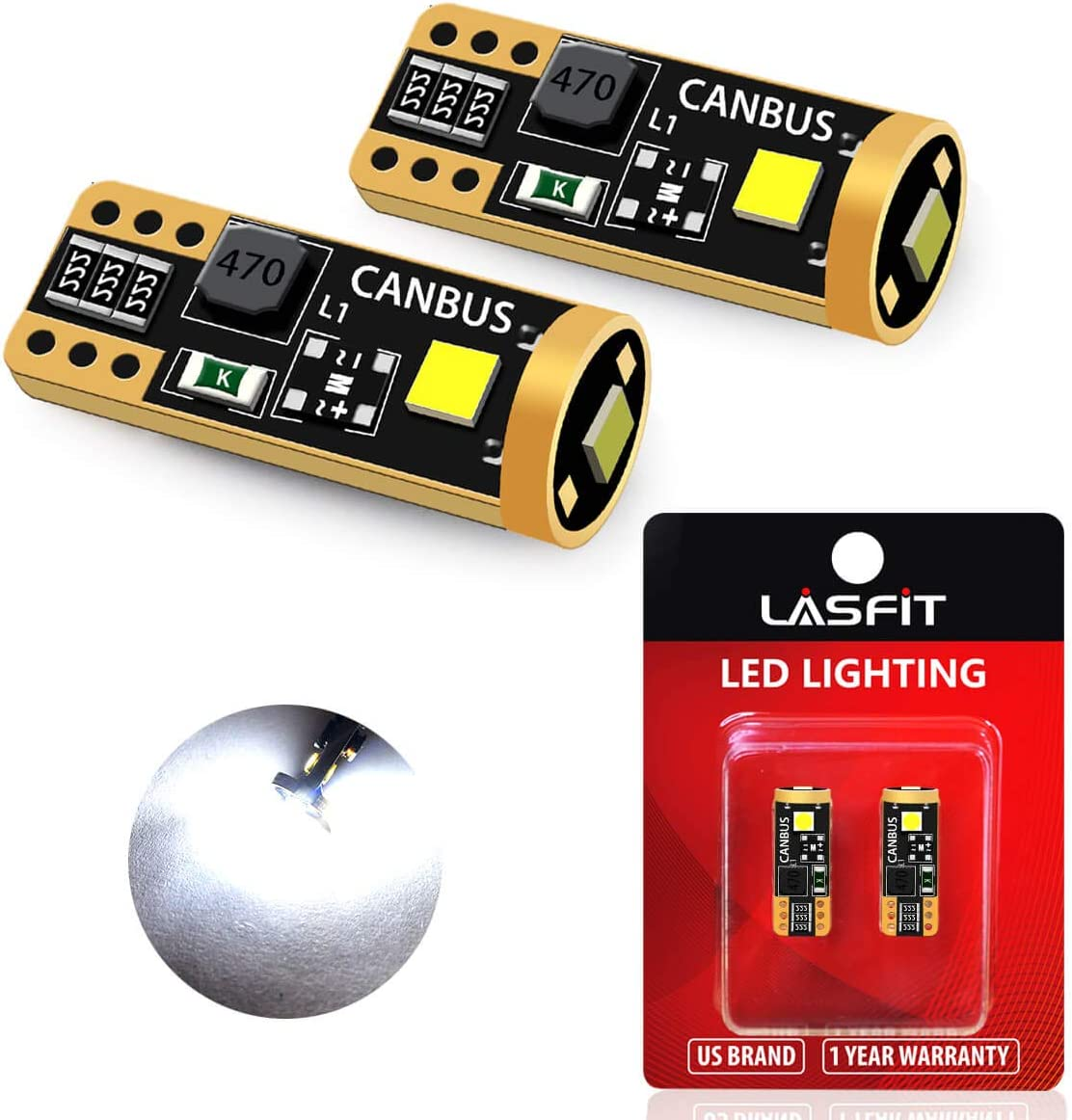 LASFIT 194 168 2825 W5W LED Bulb Canbus Error Free, T10 LED Bulbs 400LM 6000K for Dome Map License Plate Trunk Cargo Lights (2-pack)