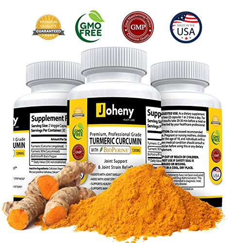 Premium Turmeric Curcumin with Bioperine 1200 mg - Joint Pain Relief, Anti-Inflammatory, Antioxidant Supplement. Best 100% Natural, GMO Free, Made in USA. (1)