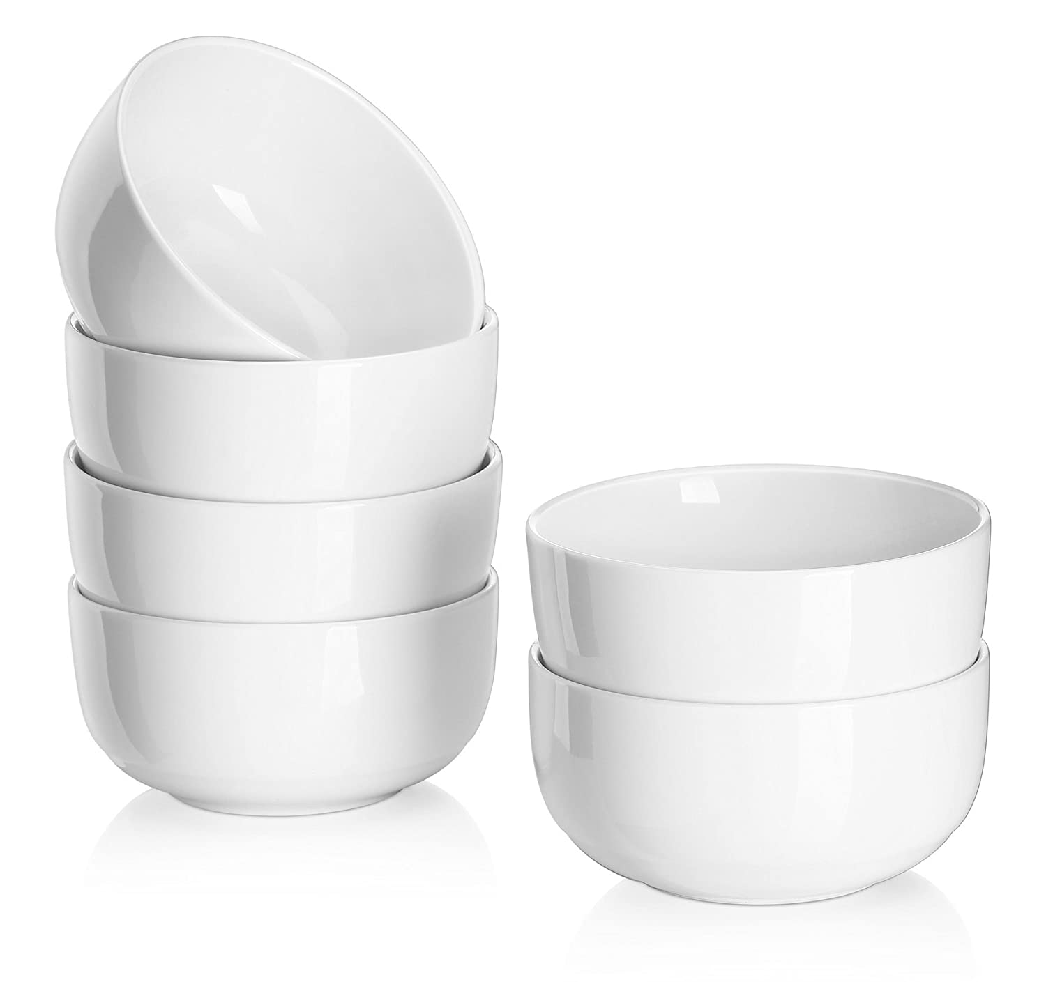 DOWAN 10-Ounce Porcelain Bowl Set - 6 Packs,White