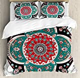 Arabian Decor Duvet Cover Set by Ambesonne, Oriental Ornate Embriodery Style Floral Ethnic Pattern Illustration of Old Eastern Artistic, 3 Piece Bedding Set with Pillow Shams, Queen / Full, Multi