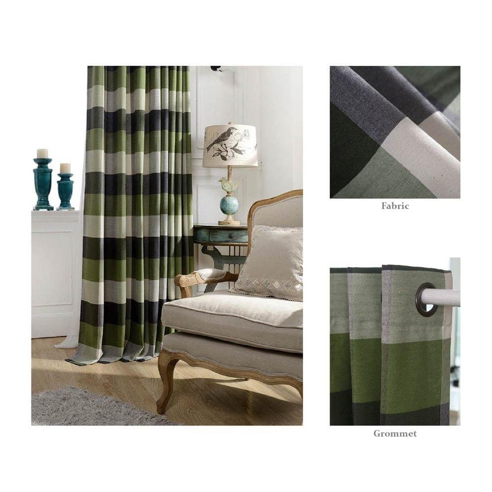 "Chezmoi Collection Payton Traditional Plaid Grommet Top Window Curtain Panel (52""W x 63""L, Sage)"