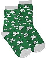 Kids Socks with White Shamrock Print, Green colour