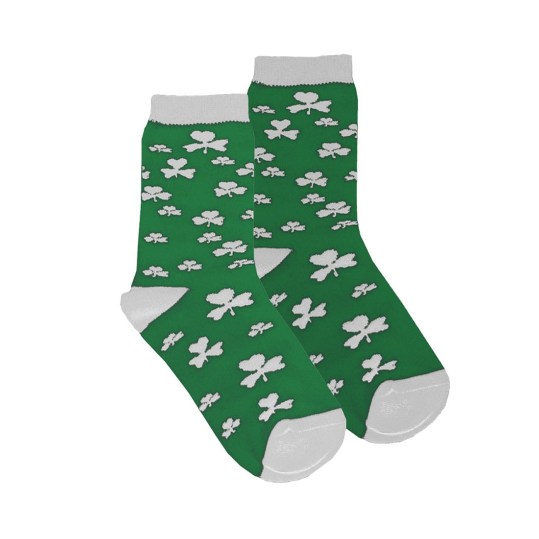 St Green Colour Patricks Day Kids Socks With White Shamrock Print