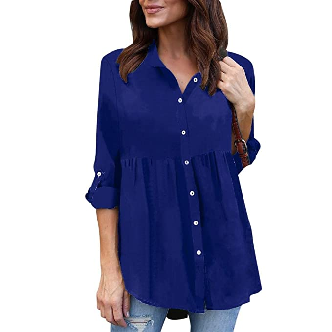 Hongxin Women Blouse Long Chiffon Shirts Lapel Buttons Asymmetric Slimwaist Workwear OL Blouse Tops (Blue