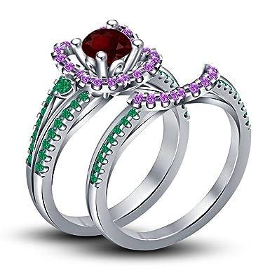 Lilu Jewels Enchanted Disney Ariel Wedding Bridal Ring Set In 925