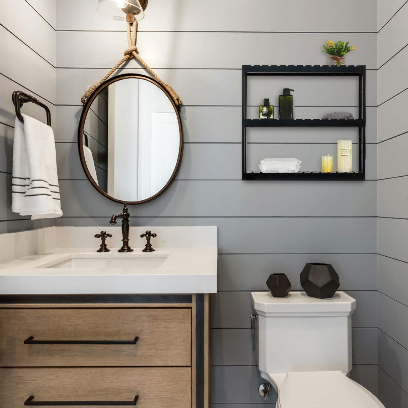 Estanter/ía de pared para ba/ño Blanco estanter/ía de ba/ño armario de pared estanter/ía de cocina con 3 alturas regulables estante de madera pared de bamb/ú