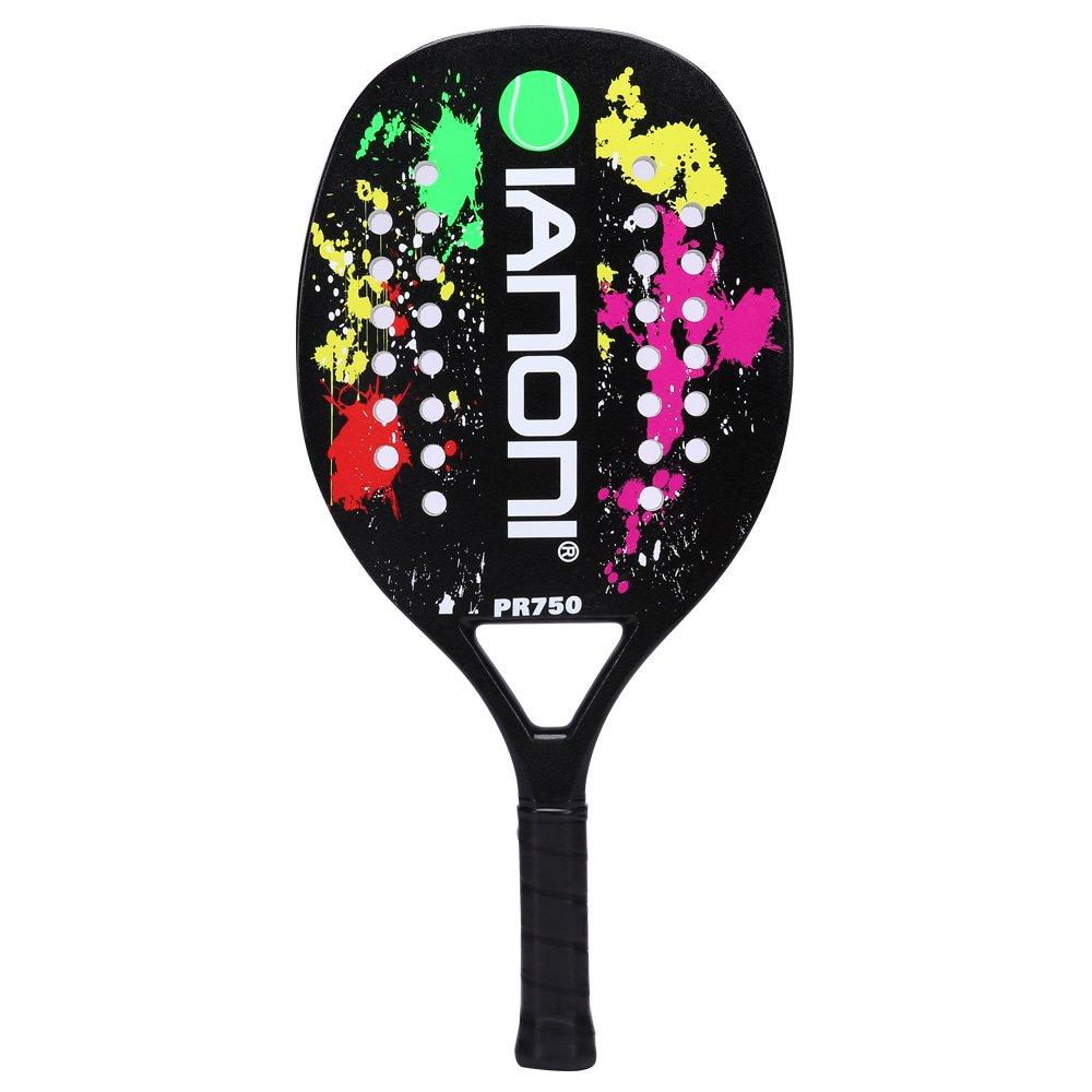 ianoni Beach Tennis Racket, Carbon Fiber Grit Face with EVA Memory Foam Core Beach Tennis Racket (Black)