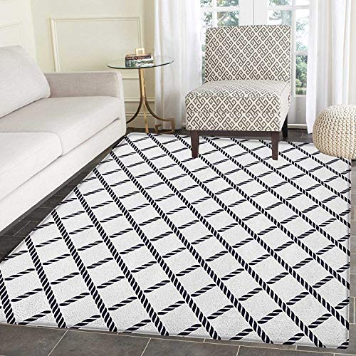 Geometric Area Rug Carpet Checkered Rope Pattern Maritime Themed Fish Net Shape Nautical Inspirations Customize Door mats for Home Mat 2'x3' Dark Blue White (Rope Inspirations)