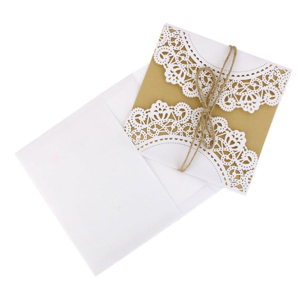 NUOLUX 10 pezzi partecipazioni biglietto d'invito a matrimonio (Viola)