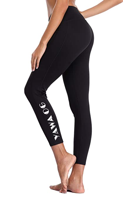 Eono Essentials Womens Printed Yoga Pants (Black #1, Medium ...
