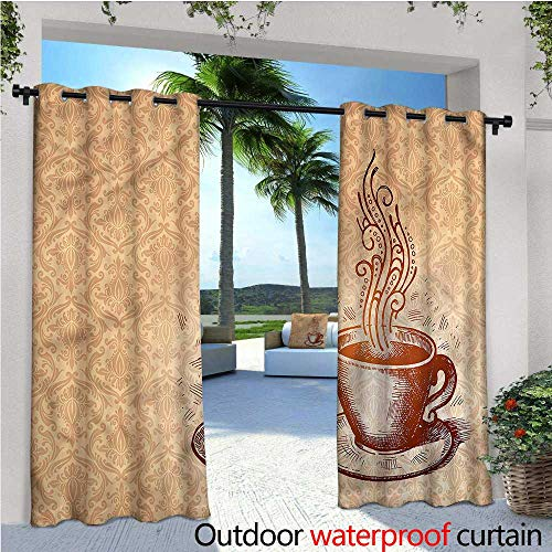 warmfamily Coffee Outdoor Privacy Curtain for Pergola Cup with Saucer Pattern Art Thermal Insulated Water Repellent Drape for Balcony W72 x L84