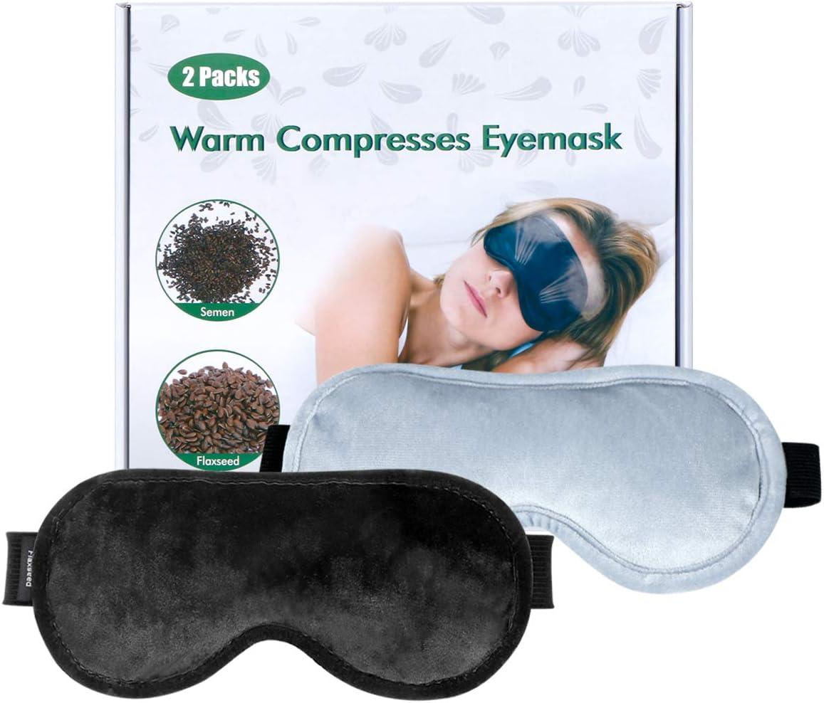 Dry Eye Mask Moist Heat Eye Compress(2-Packs), TOPOINT Microwave Heated Eye Mask for Dry Eyes, Flaxseed Cassia Seed Sleeping Mask