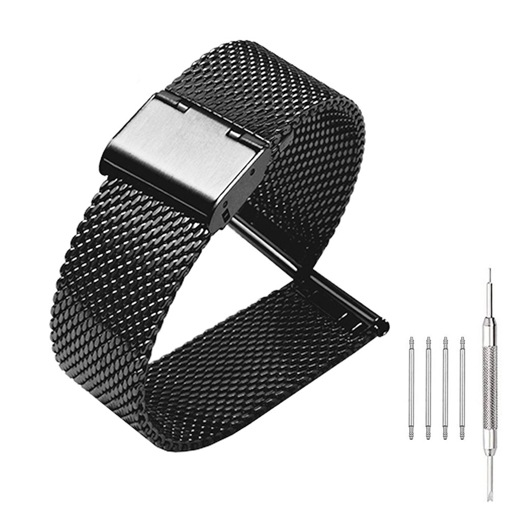 20mm Mesh Stainless Steel Bracelet Wrist Watch Band Strap with Fold-over Clasp Buckle - Black