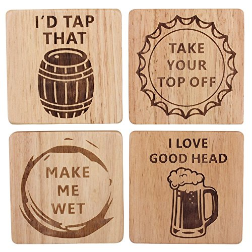 Wooden Drink Coasters - Funny Beer Coasters Set of 4 Wood Square Drink, Home Bar, Brewery Gifts, Wooden Coasters, Housewarming Gift