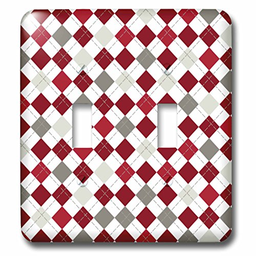 Argyle Roses (3dRose lsp_210976_2 Red, Burgundy, Gray, And White Large Argyle Pattern - Double Toggle Switch)