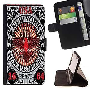 King Case - FOR HTC One M9 - my heart twitched powerfully - Prima caja de la PU billetera de cuero con ranuras para tarjetas, efectivo Compartimiento desmontable y correa para la mu?eca