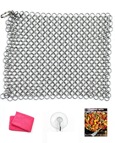 Campfire Cooking EquipmentFor Cast Iron Cookware Clean-Up - Premium Kitchen Cast Iron Cleaner Chainmail Scrubber Xl 8x6 Inch Stainless Steel Heavy Duty Cleaner Dutch Oven, Cast Iron Skillet Cookware Natural Handcrafted Free Bonus Ebook & Dry Cloth & Hook