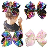 #8: 8 Inches Bows For Girls Glitter Sequins Boutique Big Hair Bow Clips For Teens Toddlers Kids Children Accessory
