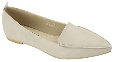 a84a9dd0866 AnnaKastle Womens Vegan Leather Chic Pointy Toe Loafer Flat Slip On Shoes  Beige