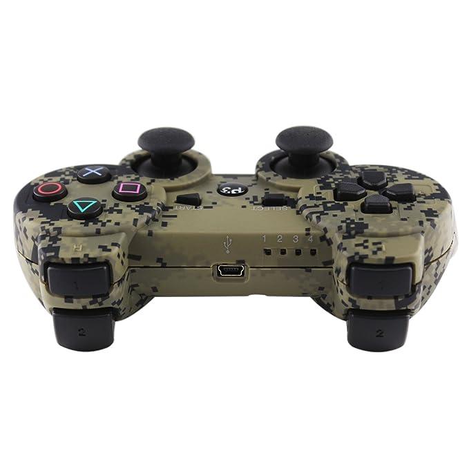 kinvida PS3 Bluetooth seis Axis Wireless juego controlador Gamepad Joypad mango mano Shank, Dual Shock Doble vibración con USB cable de carga, ...
