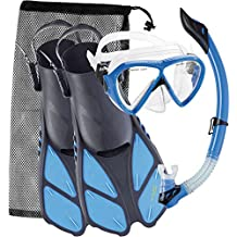Cressi BONETE SET, Adult Set (Mask, Snorkel, Fins) for Swimming and Snorkeling - Cressi: Quality Since 1946