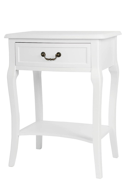 Elbmöbel Nachttisch Beistelltisch weiß Antik schmal rund mit Schublade (Weiß, B56 x H82 x T35 cm)