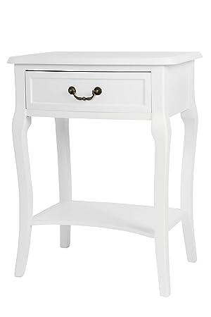 Nachttisch Schmal Weiß.Elbmöbel Nachttisch Beistelltisch Weiß Antik Schmal Rund Mit Schublade Weiß B56 X H82 X T35 Cm