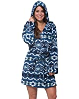WallFlower Womens Luxury Soft Sleepwear Plush Warm and Cozy Printed Hooded Robe Loungewear for Ladies