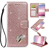 LAPOPNUT for Samsung Galaxy s7 Edge Case, Luxury Bling Diamond PU Leather Flip Case Rhinestone Jewellery 3D Love Heart Card Slot Glitter Wallet Magnetic Stand Cover with Wrist Strap, Rose Gold