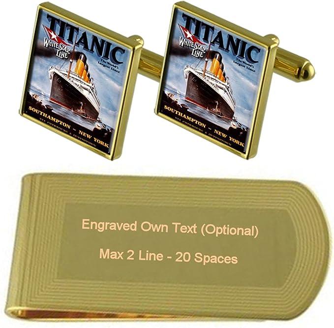 Tarot Fool Card Gold-tone Cufflinks Money Clip Engraved Gift Set