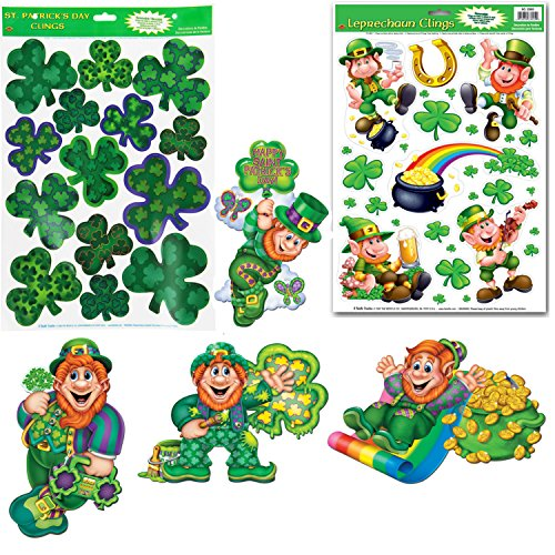 St. Patrick's Day Clings and Cutouts | Large sized Holiday Decorations for Walls, Windows and Doors
