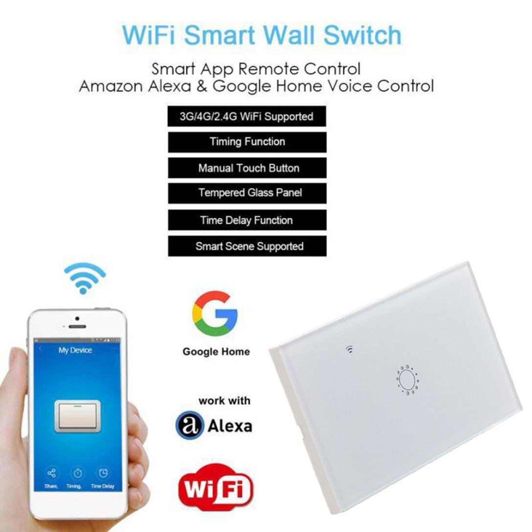 Switch Capacitive Hand Switch Wireless Remote Control Glass 1-gang Smart Home AU/US Crystal Waterproof Glass Touch Screen Light Switch&Mini Remote Wifi phone control (White) by Liu Nian (Image #3)