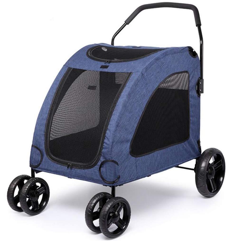 bluee Pet Stroller,Travel Dog Cart,Lightweight Folding Cart 2 Front Wheels (color   bluee)
