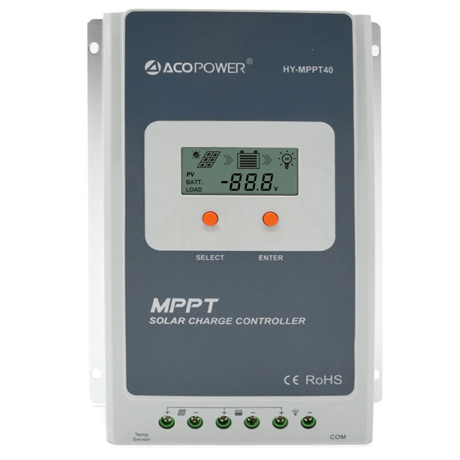 ACOPOWER 40A MPPT Solar Charge Controller 100V Input HY-MPPT40A with LCD Display