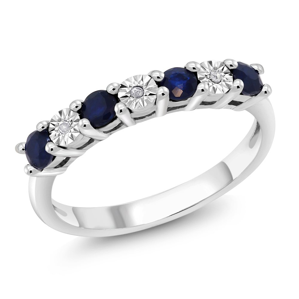 925 Sterling Silver Round Sapphire & White Diamond Engagement Ring (Size 6)