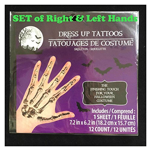 Current Events Halloween Costumes (Fake Tattoos Of Skeleton Hand Bones Costume Cosplay Props)