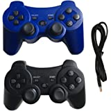 Ps3 Controller Wireless Controller with Charger Cable - 2 Pack Dual Vibration ( Blue and Black - Compatible with Playstation