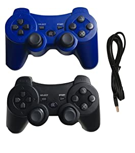 Ps3 Controller Wireless Controller with Charger Cable - 2 Pack Dual Vibration ( Blue and Black - Compatible with Playstation 3 PS3 ) by IHK