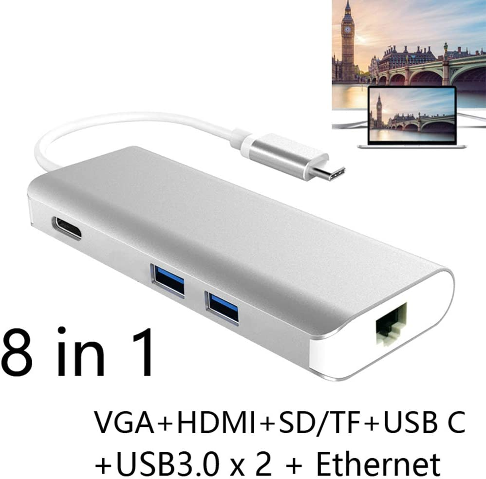 hudiemm0B Type-C Hub 8 in 1 USB 3.0 Type C Hub SD TF Card Reader HDMI VGA RJ45 Ethernet Combo Adapter