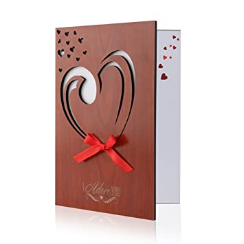 Unomor love card imitation wood greeting card for anniversaries unomor love card imitation wood greeting card for anniversariesbirthdays weddings and special m4hsunfo