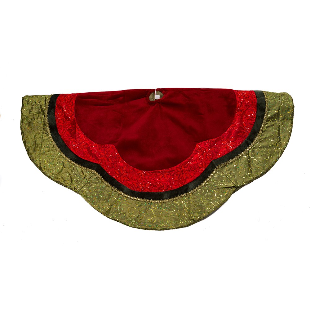 Kurt Adler Velvet and Silk Gold/Green/Red Scalloped Embroidered Sequin Treeskirt with Metallic Trim, 54-Inch