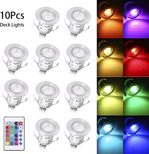 Lixada Recessed LED Deck Light 16 RGBW Colors 4 Lighting Modes Remote Control Creating Romance Atmosphere Colorful Home, IP67 Deck Lights Ideal for Garden Yard Path Steps Stair Landscape Decor -10Pack