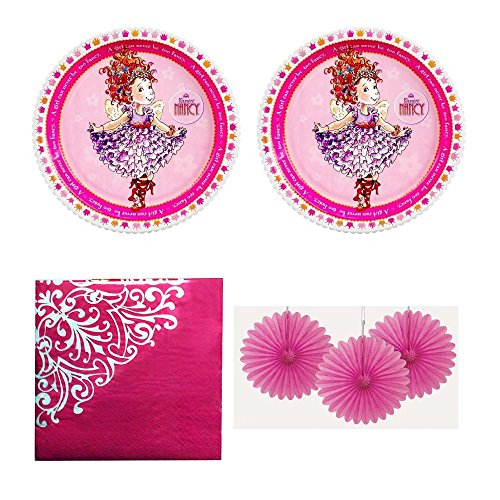 Fancy Nancy Party pack for 16 guests - plates, napkins and mini fan decorations