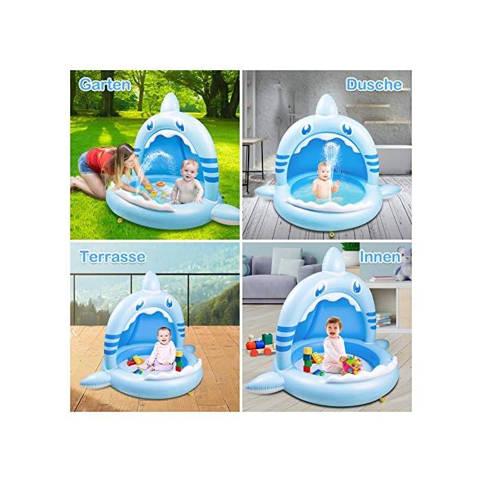 61YmkNipomL 【Alta calidad】: esta piscina hinchable infantil está hecha de PVC de alta calidad, impermeable y hermética. Es divertido para los bebés y fácil de inflar, lo que mantiene a los niños frescos y seguros. 【Techo de protección solar】: el techo de protección solar protege a los bebés de la luz solar directa. Esta piscina infantil ofrece a su bebé un lugar fresco y fresco en el caluroso verano. 【Adorable diseño con forma de tiburón】: esta piscina infantil para niños tiene la forma de un tiburón, es muy linda y adecuada para bebés y niños. Y tu bebé se enamorará de este piscina hinchable.